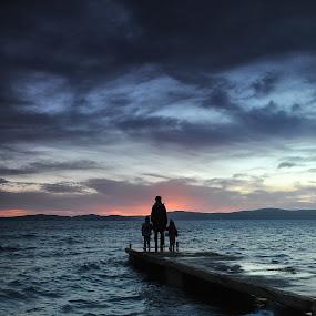 Carry on  by Davor Strenja - People Family ( sky, bibinje, sunset, croatia, sea, family clouds, sun, holding hands )