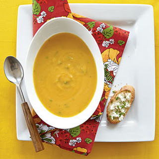 Roasted Butternut Soup with Goat Cheese Toasts.