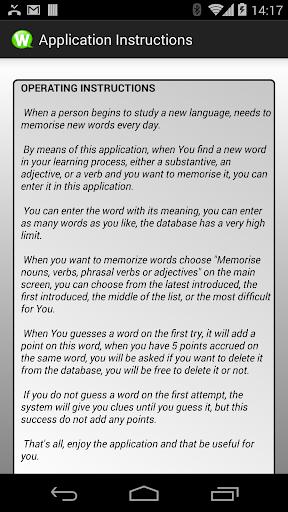 Tool for Memorizing Vocabulary