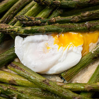 Roasted Asparagus with Poached Eggs and Miso Butter
