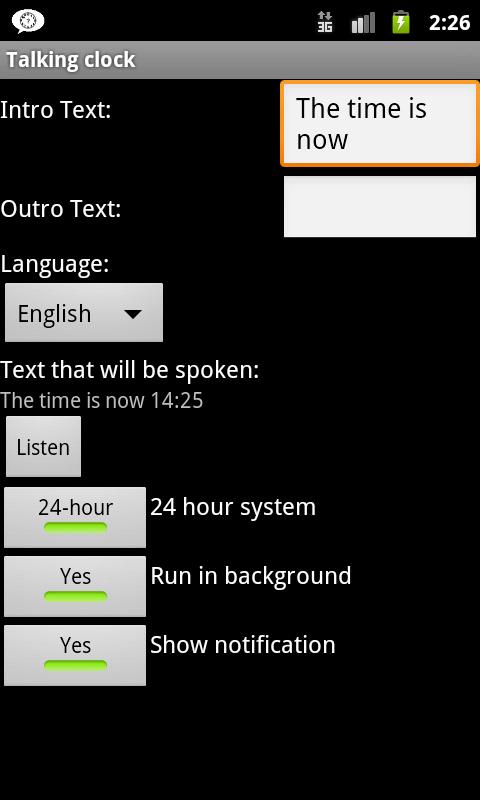 Talking Clock- screenshot