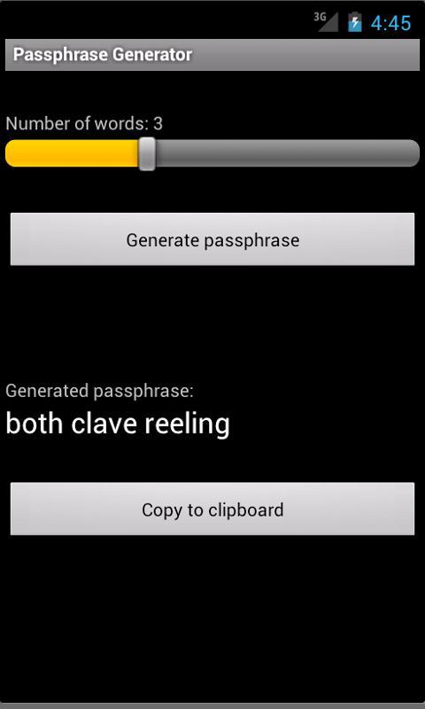 Passphrase Generator- screenshot