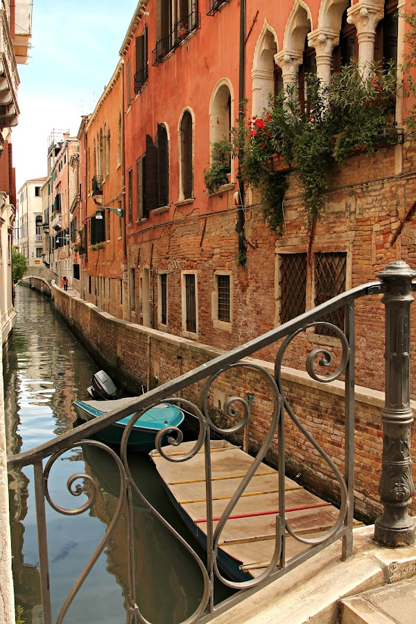 Venice Canal III by Elizabeth Mundy - Landscapes Travel ( window box, venice, boat, canal, italy,  )