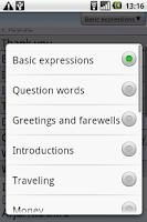 Screenshot of BKS English-Arabic PhraseBook