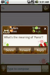 Easy SMS Fun Fruites theme screenshot