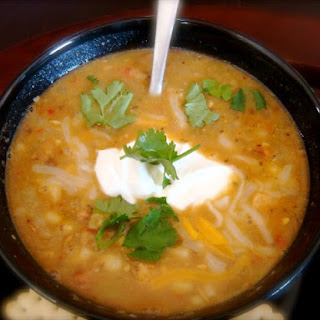 Slow Cooker White Chili With Hominy, Black-Eyed Peas, White Beans and Corn