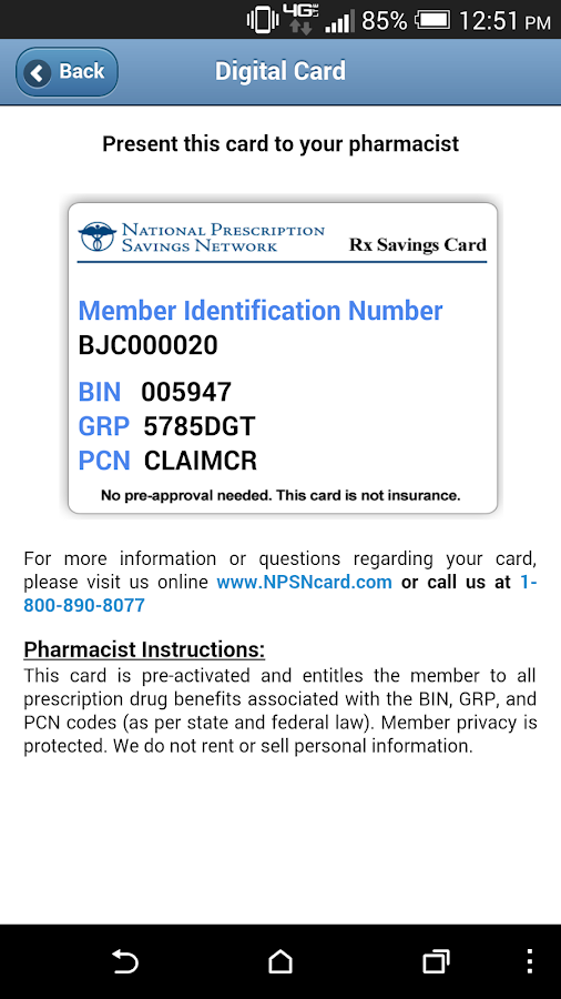 NPSN Mobile Rx Discount Card- screenshot