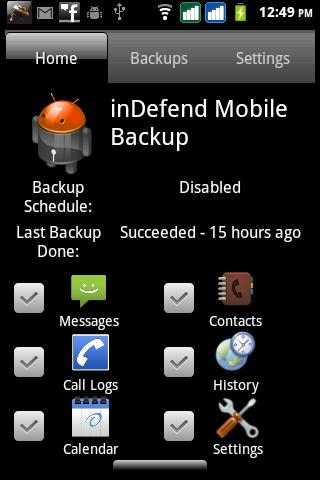 inDefend Mobile Backup- screenshot