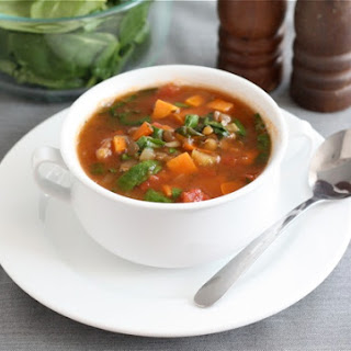Lentil Soup with Sweet Potatoes and Spinach.