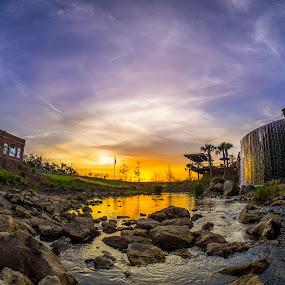 Cascades Park by John Smith - Landscapes Sunsets & Sunrises ( clouds, samyang, stream, fisheye, park, omd, waterfall, em1, 7.5mm, rokinon, sky, sunset, florida, cascade, fountain, rocks, river, olympus )