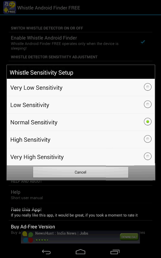 Whistle Android Finder FREE- screenshot