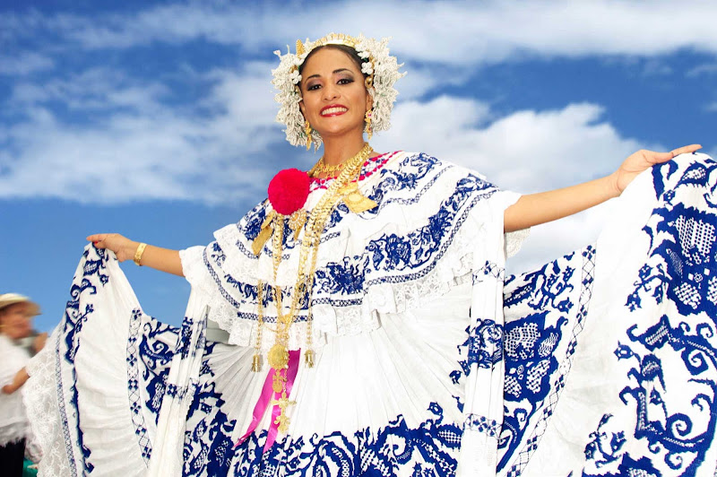 A dancer in traditional costume in Panama.