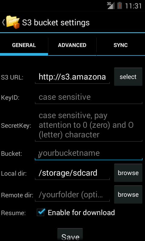 S3Anywhere (Amazon S3 cloud) - screenshot