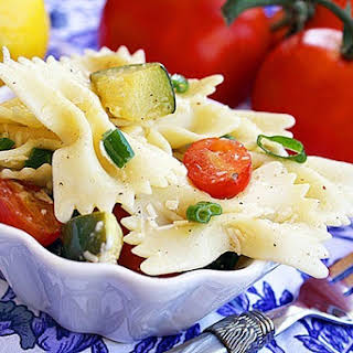 Pasta Salad with Tomatoes, Zucchini and Parmesan.