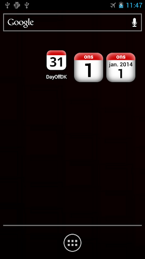 DK Holidays Calendar Widget