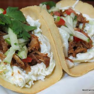 Pulled Pork Soft Tacos With Sesame Slaw.