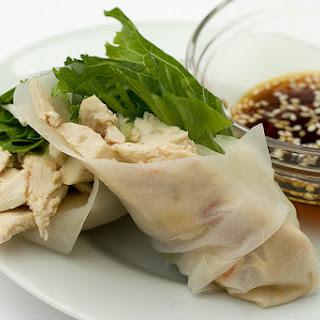 Thai Green Curry Chicken Summer Rolls.