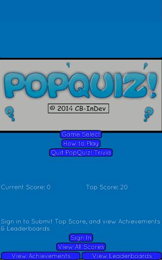 PopQuiz Trivia Game