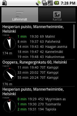 Helsinki timetables- screenshot