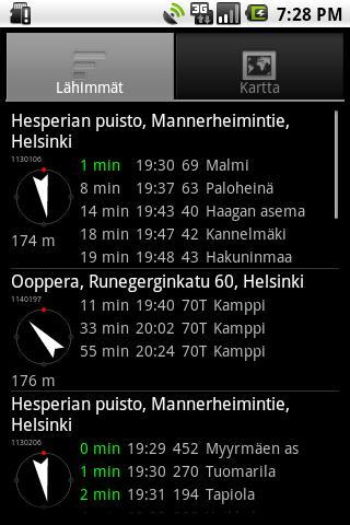 Helsinki timetables - screenshot