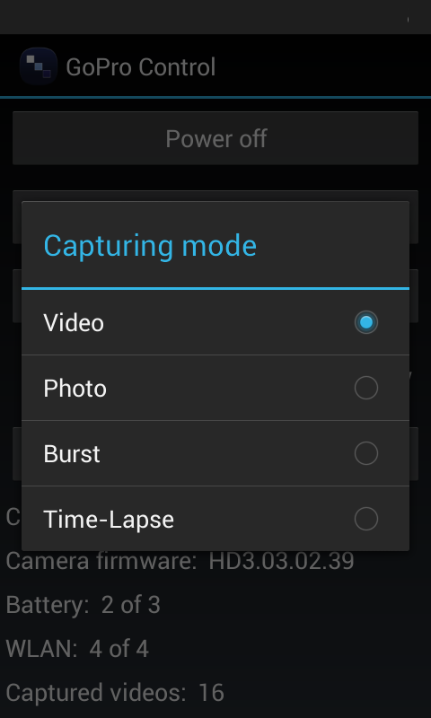 Camera Controller for GoPro- screenshot