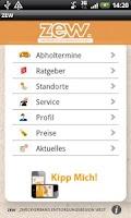 Screenshot of Abfall App ZEW