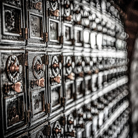 Mail Boxes by Evan Jones - Artistic Objects Antiques ( post office, pattern, vintage, texture, brown,  )