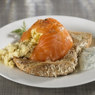 Scrambled Egg and Smoked Salmon Timbale Served with a Yogurt and Dill Dressing Recipe