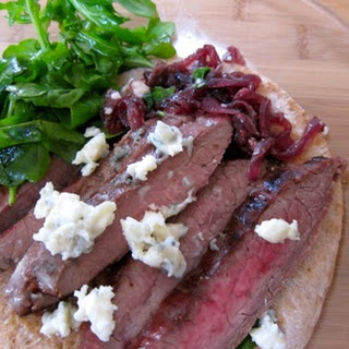 Open Face Steak Sandwich with Red Onion Jam and Blue Cheese.