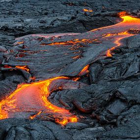 Lava river by Matt Mcclenahan - Nature Up Close Rock & Stone ( volcano, lava, lava stream, molten, hot lava, hawaii, island, kiluea volcano )