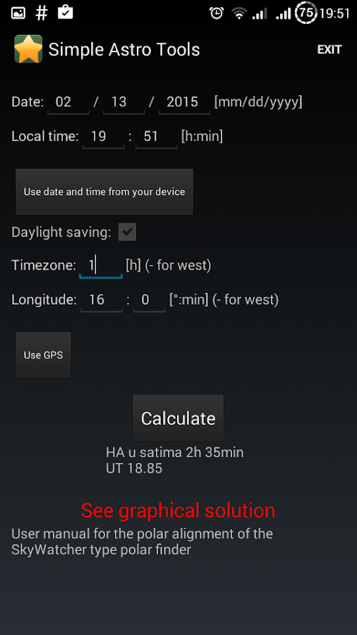 Simple Astronomy Tools- screenshot