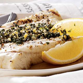 Grilled Halibut with Lemon-Mint Gremolata.