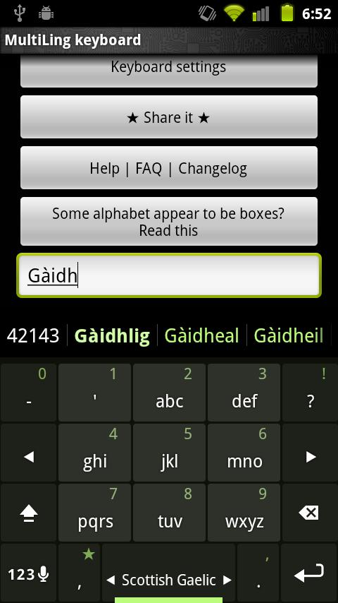 Plugin Scottish Gaelic - screenshot
