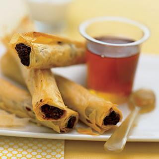 Date and Walnut Phyllo Rolls with Greek Yogurt and Honey.