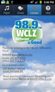98.9 WCLZ- screenshot thumbnail