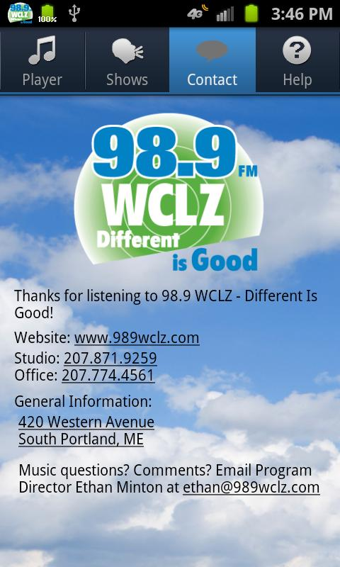 98.9 WCLZ - screenshot