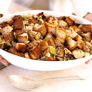 Apple, Sausage, and Parsnip Stuffing with Fresh Sage.