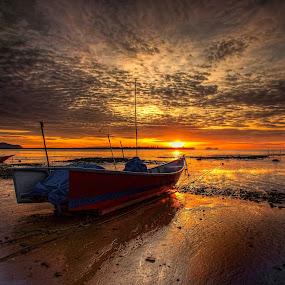 Waiting to Fish by NC Wong - Transportation Boats ( clouds, pasir panjang, sunset, beach, fishing boat )