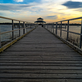 Out on the Pier by Kyle Kephart - Buildings & Architecture Bridges & Suspended Structures ( clouds, epic, charleston, wooden, colorful, gorgeous, sunset, beautiful, pier, dock )