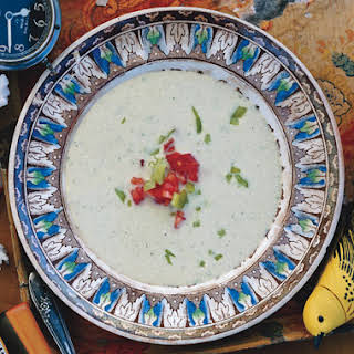 Cold Cucumber and Cubanelle Soup with Cashews and Chives.