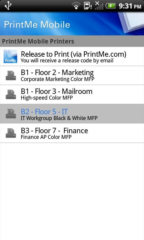 EFI PrintMe Mobile - screenshot