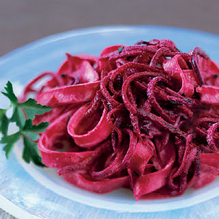 Tagliatelle with Shredded Beets, Sour Cream, and Parsley.