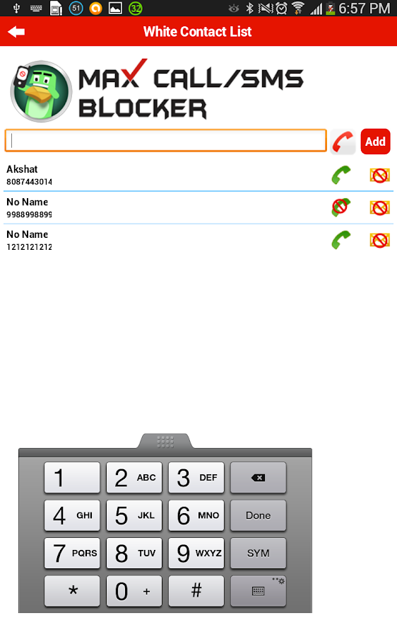 SMS and Call Blocker- screenshot