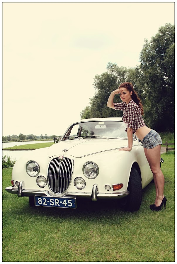 Vintage pin up by Steve Hendra - People Portraits of Women ( car, jaguar, model, vintage, female, pin up,  )