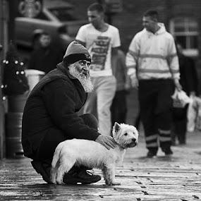 Caught You! by Ian Taylor - People Street & Candids ( cobbles, durham, street, candid, bridge, dog, man )