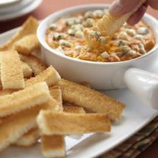 Buffalo Chicken Cheese Dip with Wonder Bread Fingers.