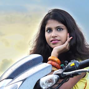 SHE 27 by Udaybhanu Sarkar - People Portraits of Women ( bike, woman, outdoor, lady, portrait )