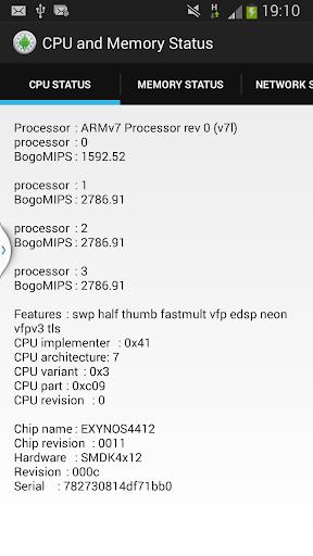 CPU and Memory Status