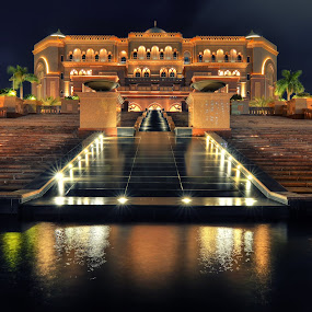 The Emirates Palace by CJ Cantos - Buildings & Architecture Public & Historical ( pastel, night photography, color, colors, abu dhabi, night, palace, nightscape )