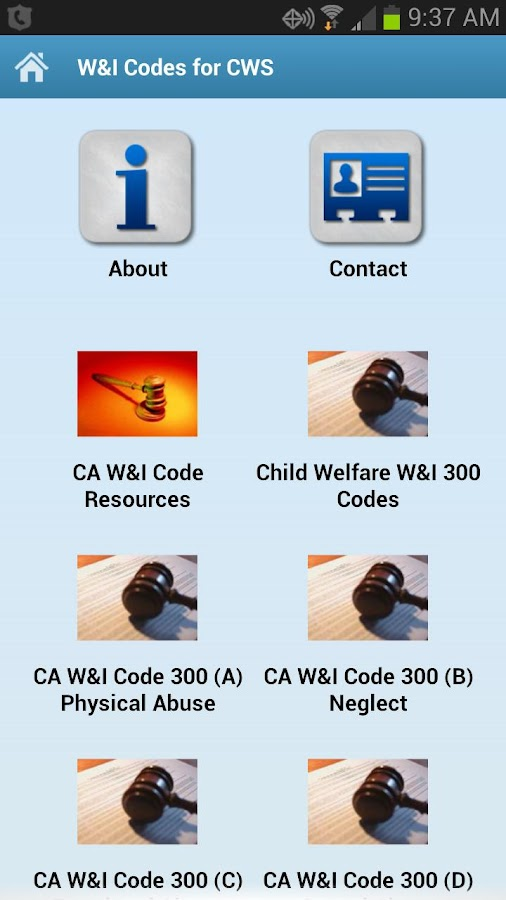 W&I Codes for CWS- screenshot